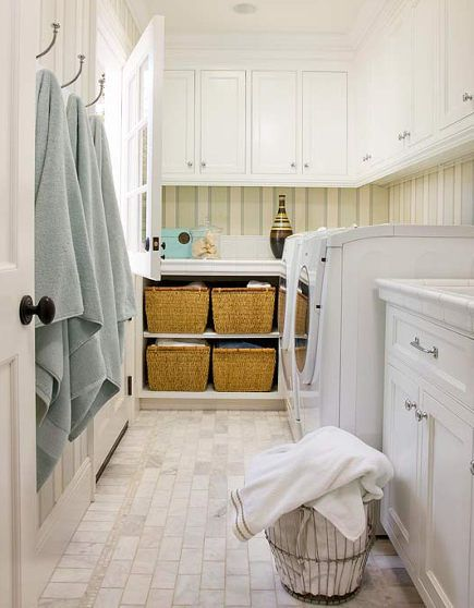 Laundry Room Baskets   White Laundry Room With Dutch Door And Open Base  Cabinet Storage For