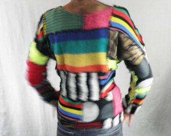 Azules y morados Patchwork Sweater talla M