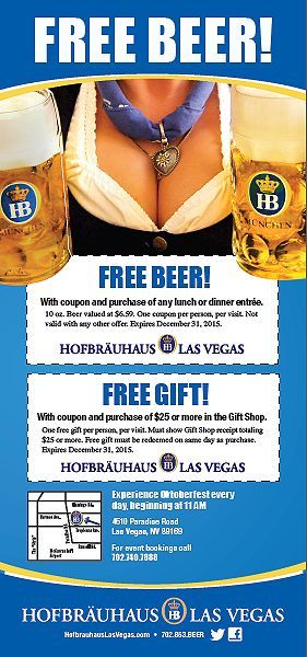 Free Beer with coupon and purchase of any Lunch or Dinner Free - free discount vouchers