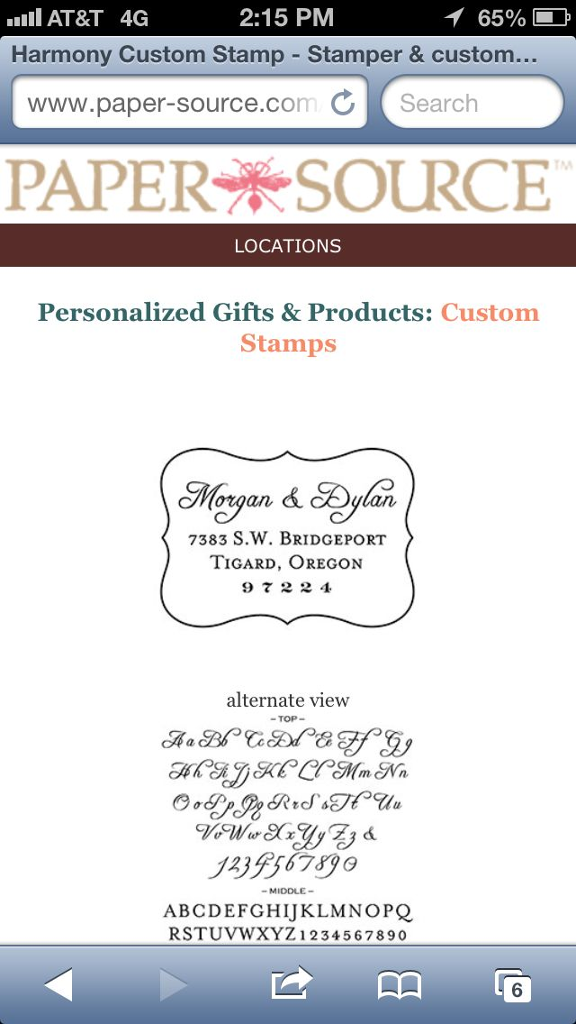 Paper Source custom stamps great for businesses or weddings address labels