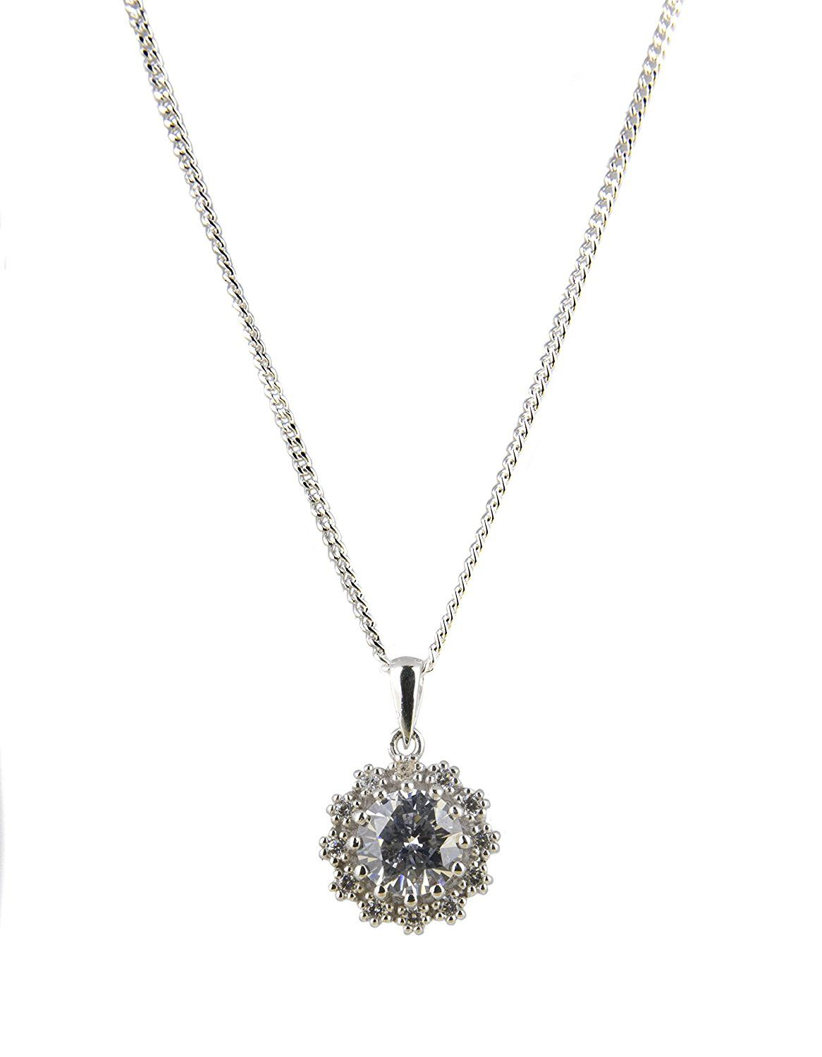Silver round cubic zirconia claw set halo cluster pendant on inch