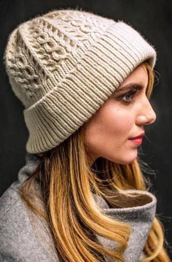 33874ad8694 Cap Hat Beanie merino with braids aran cable. Cap hat beanie with lapel.  Beige wool merino hat. Warm