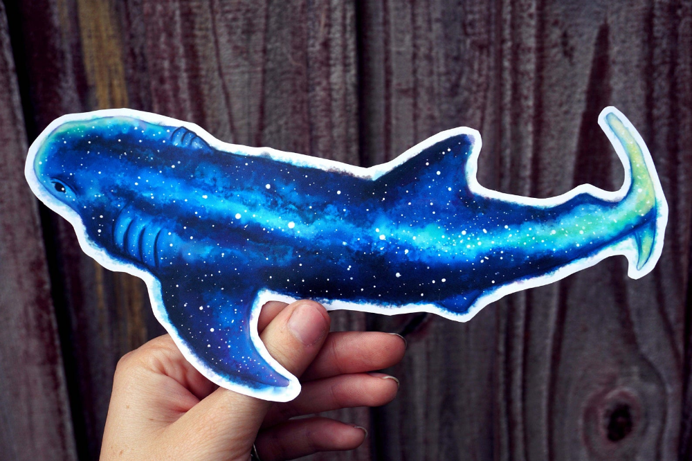 Whale Shark Galaxy Sticker LARGE 8 INCH Ocean Nature