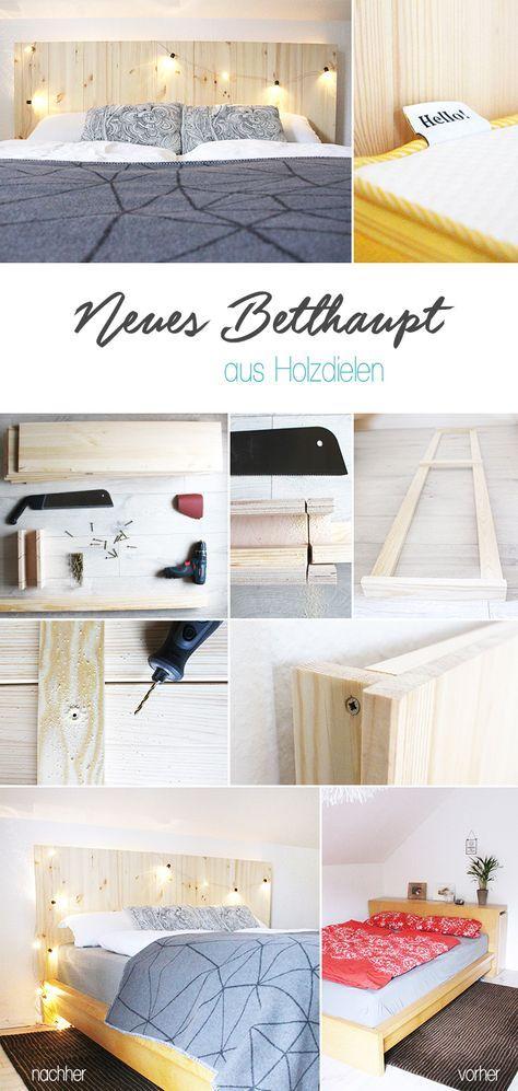 Do it yourself Selbst aus Holzdielen ein Betthaupt bauen Ikea