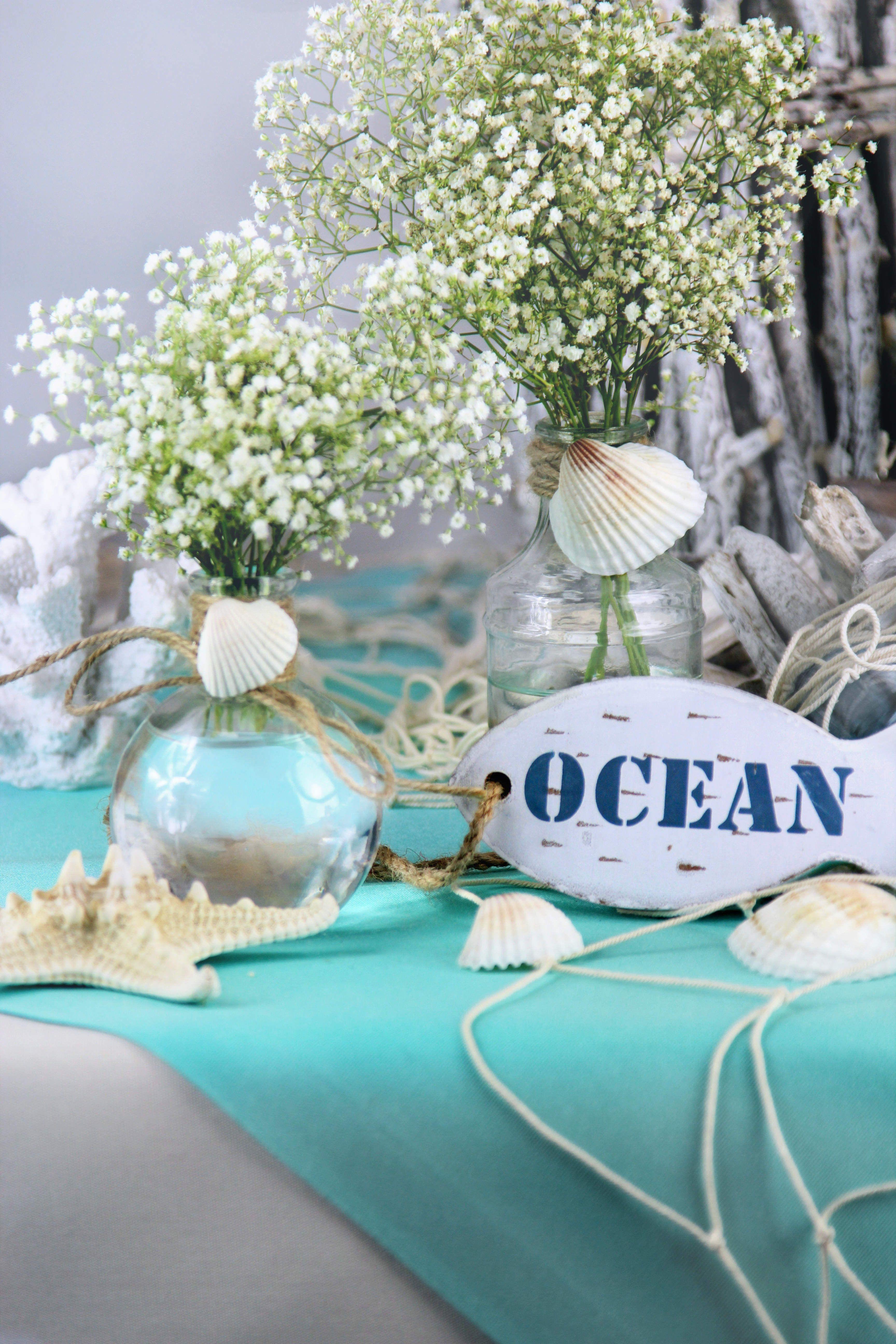 Maritime Tischdeko mit Schleierkraut Gartentischdecke von sander
