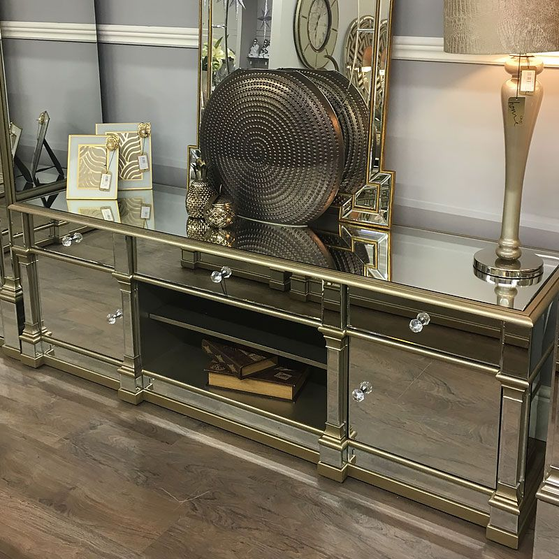 Athens Gold Mirrored Tv Entertainment Stand Large In 2020