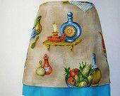 Kitchen Curtain A-line skirt, vintage fabric, lined, crockery, aqua beige orange, size Small