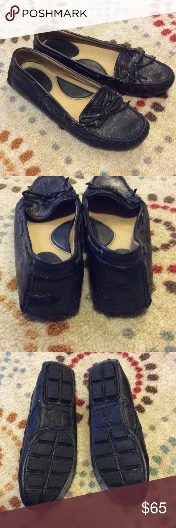 Frye Leather Moccasins Super cute and comfortable Frye moccasins.  These moccasins show some wear. Price reflects imperfections. Frye Shoes Moccasins