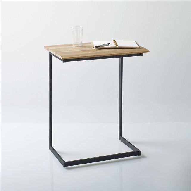 bout de canap ch ne massif about et acier hiba ooty tables and industrial. Black Bedroom Furniture Sets. Home Design Ideas