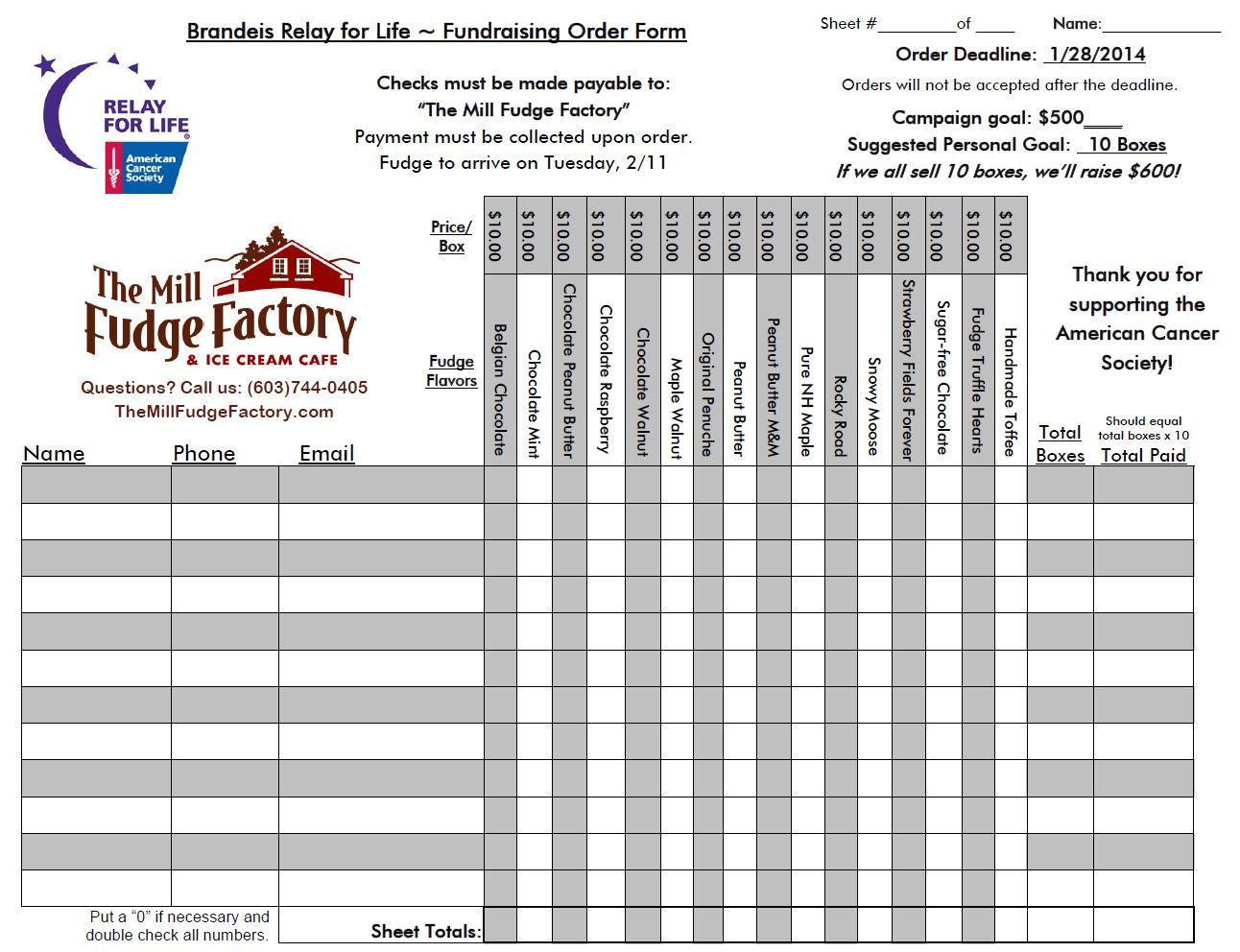 Fundraiser Order Form | Individual Fundraising Order Form, ...
