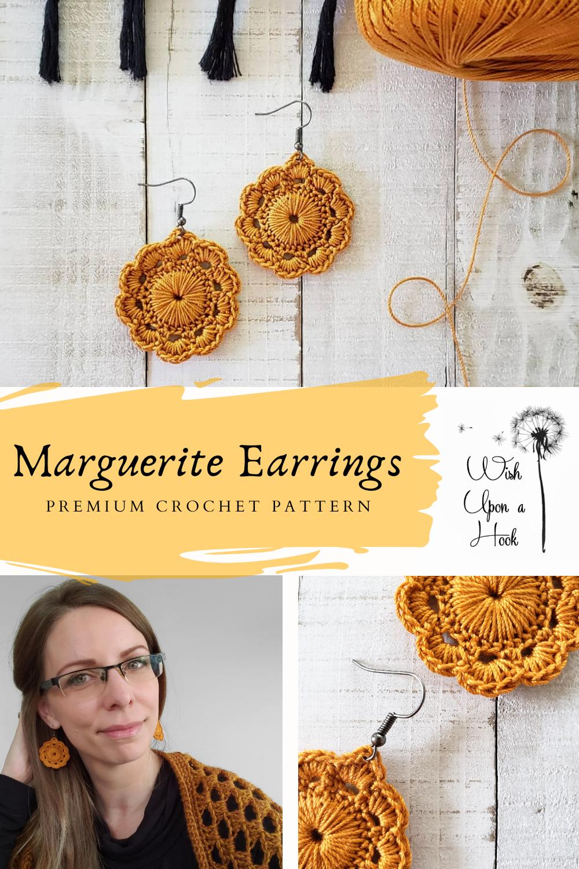 Marguerite Earrings - Premium Crochet Pattern - #crochetearrings #crochetjewelry