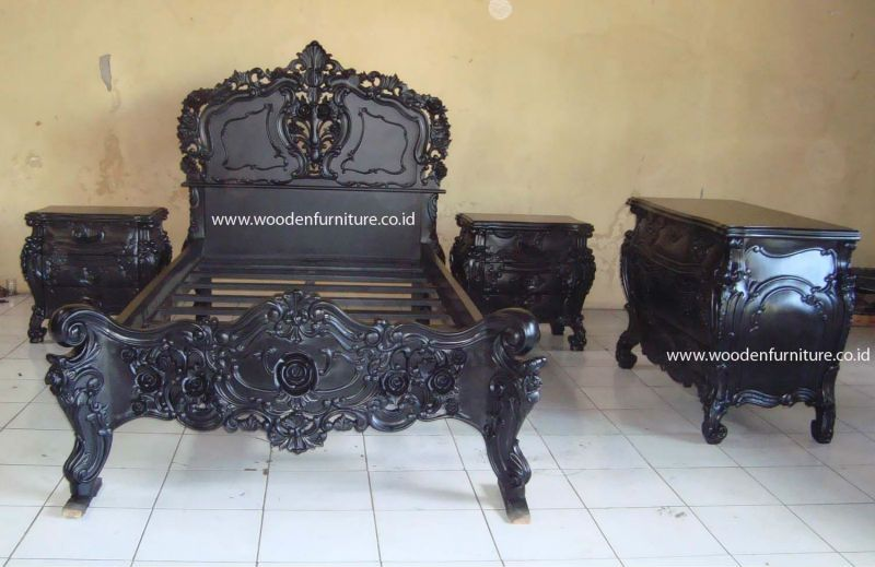 Rococo Bed Set Vintage Wooden Bed Antique Reproduction Furniture French  Provincial Bed Room European Style Home - Rococo Bed Set Vintage Wooden Bed Antique Reproduction Furniture
