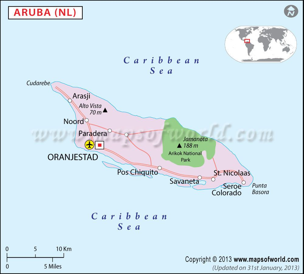 Aruba Map part of caribbean island Two of Arubas most popular