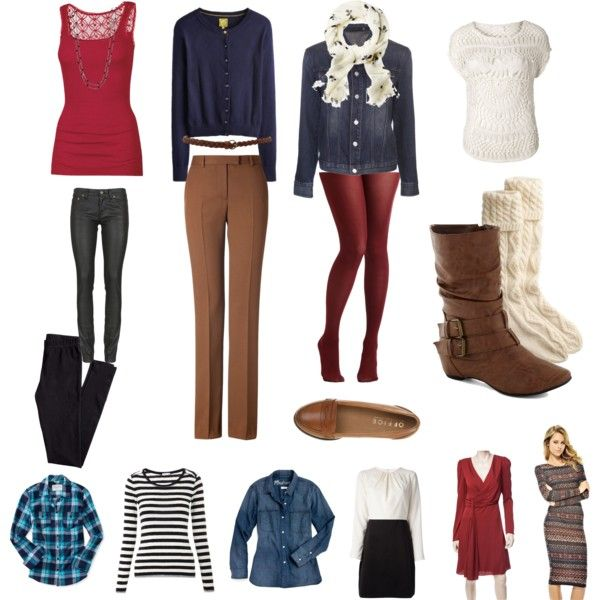 """""""Stuff I need for fall/winter""""  Cute tanktops, Cardigans, finish blue jean jacket, scarfs, sweaters - long sleeved and vest/short, long sleeved thin shirts - including bw striped, boyfriend denim shirt, flannel shirts, trousers, leggings, tights in various brighter colors, cuter socks, brown FLAT boots, loafters, a few blouses, winter dresses, a few sweater dresses, a few more belts. Imma try a more layered look this winter. :3"""