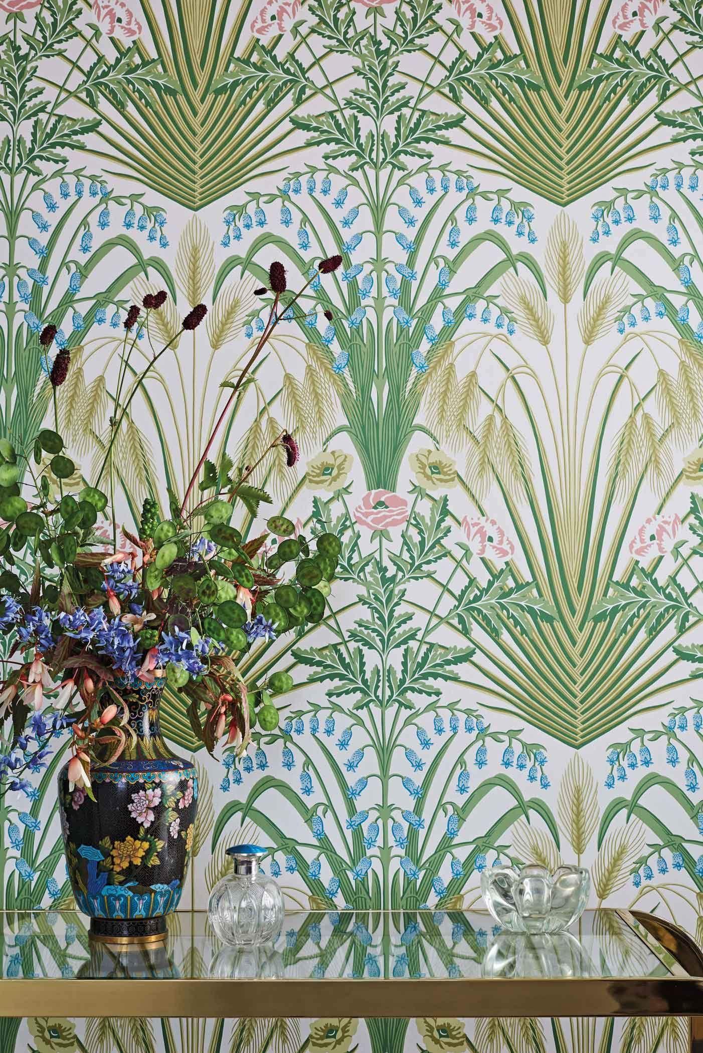 Blue Belle Wallpaper 3 Colours Botanical wallpaper