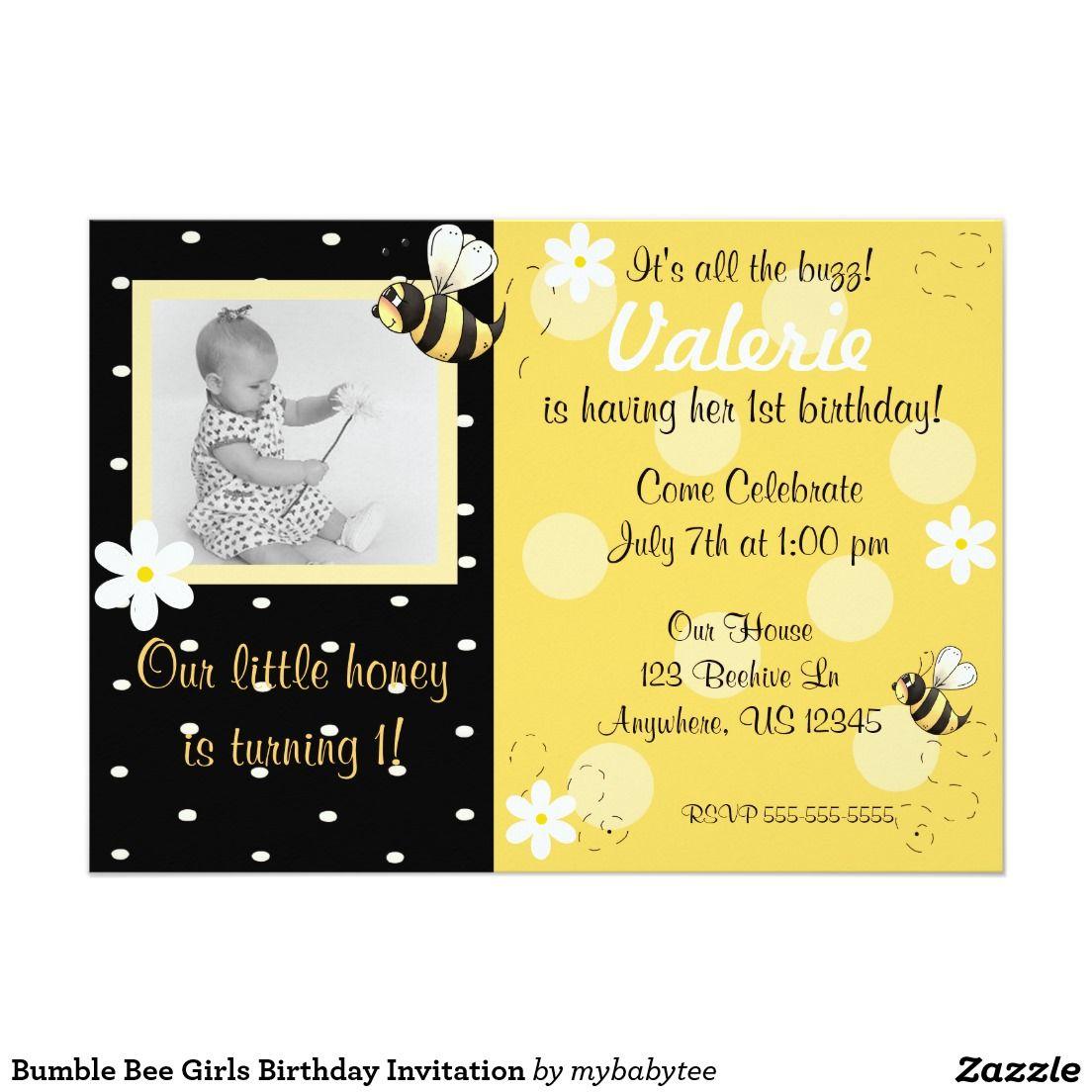 Bumble bee girls birthday invitation cute invitations shop bumble bee girls birthday invitation created by mybabytee filmwisefo Images