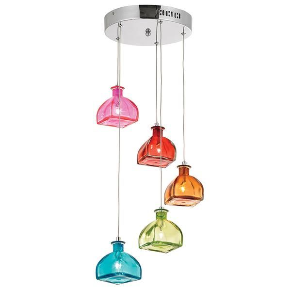 Endon lighting sarandon 5 light ceiling pendant in multi coloured finish endon lighting from castlegate lights uk