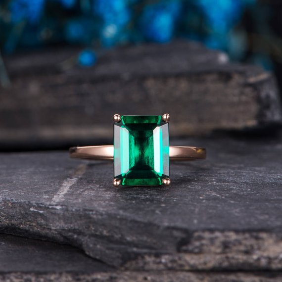 Lab Emerald Engagement Ring Solitaire Rose Gold Ring Plain Band