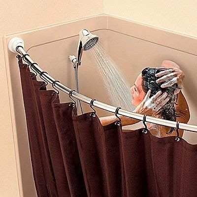 Curtain Ideas Curved Shower Curtain Rod No Screws Shower