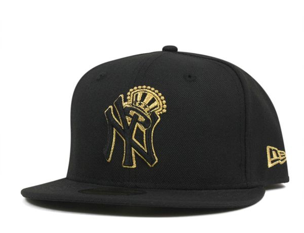 New York Yankees Crown Black Gold 59fifty Fitted Baseball Cap By New Era X Mlb Hats For Men Fitted Baseball Caps Cap