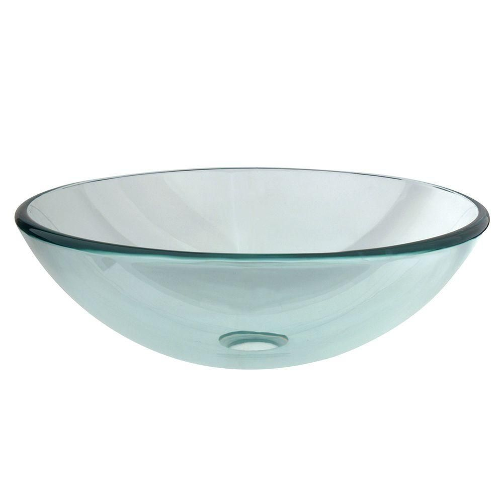 Kingston Brass Round Glass Vessel Sink In Clear Glass Vessel