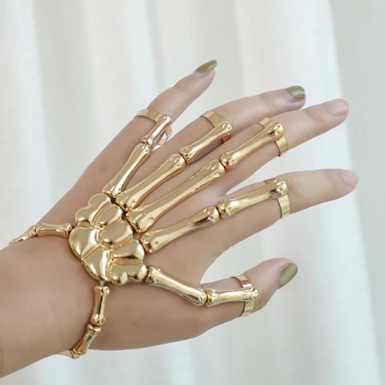 Halloween Bracelet Skull Skeleton Elastic Adjustable Punk   Etsy