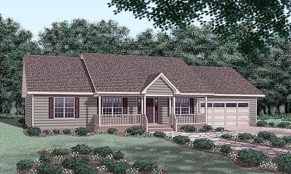 Ranch house plan 45276 main living area 1334 garage type for 2 bedroom house plans with attached garage