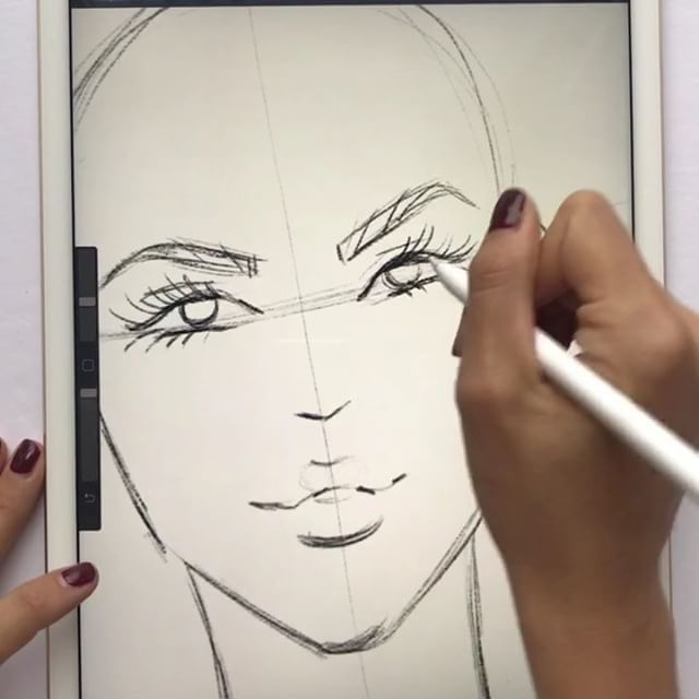 The App Is Procreate How To Draw Fashion Faces Loving The New Procreate Digital Fashion Illustration Fashion Illustration Face Fashion Illustration Tutorial