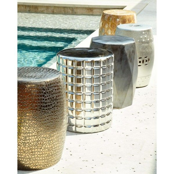Silver Raised Squares Garden Stool ($120) ❤ Liked On Polyvore Featuring  Home, Outdoors. Ceramic ...