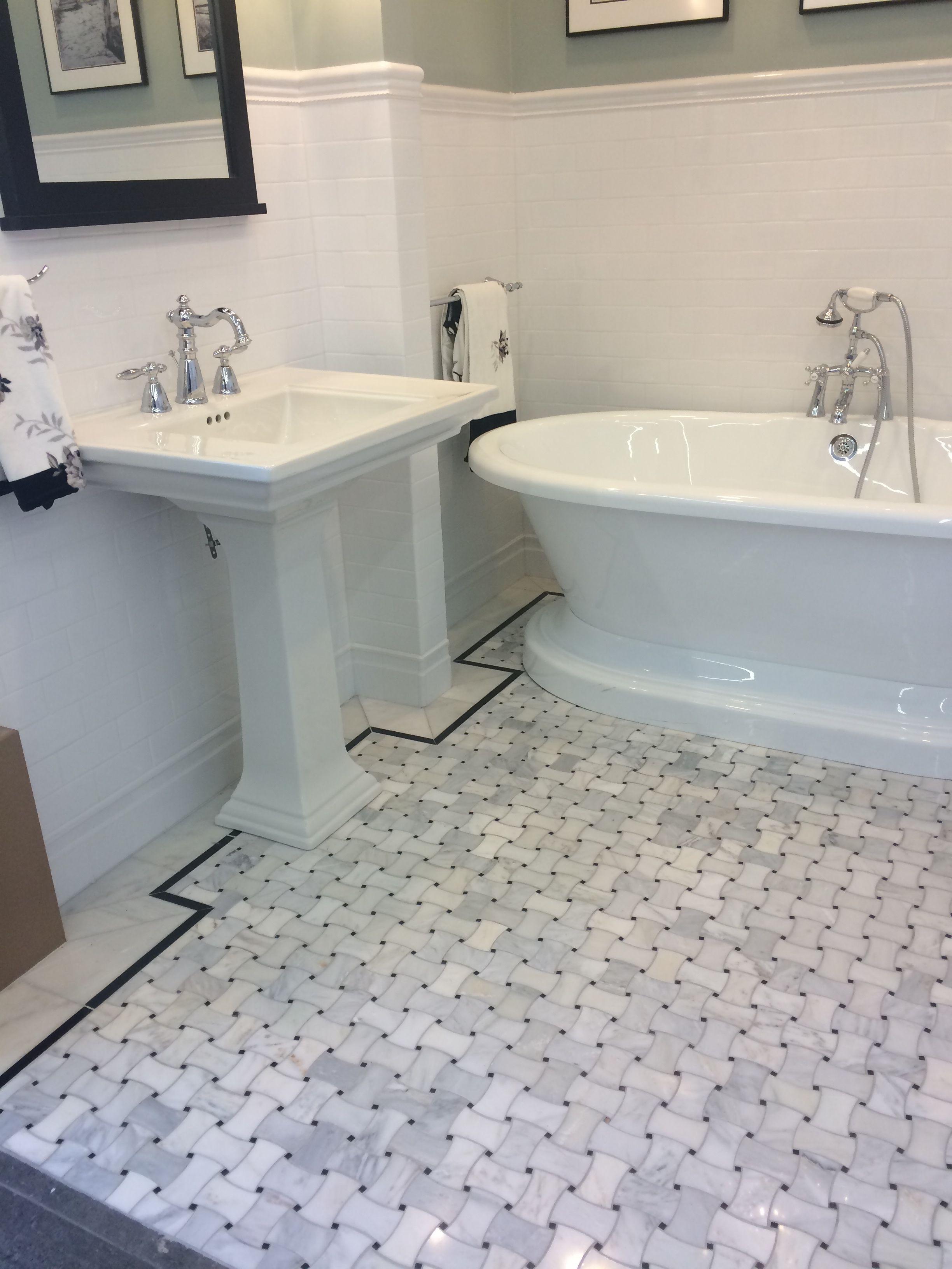 basketweave tile bathroom. Shot Taken At The Tile Shop In Bloomington, MN: Basketweave Floor With Black Bathroom