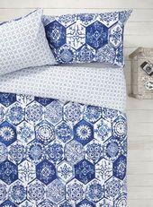 Blue/White Mosaic Tile Bedding