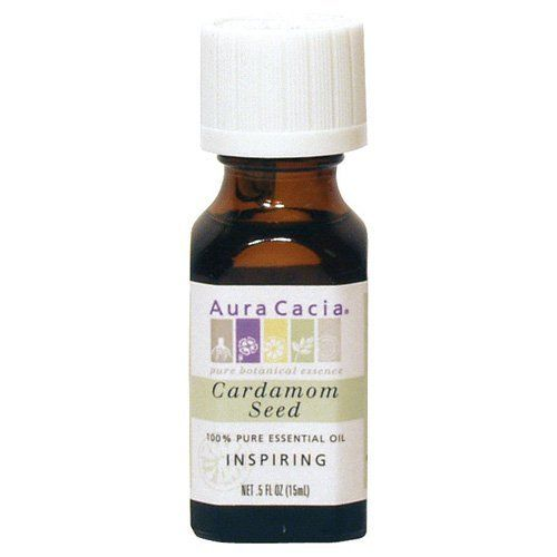 Aura Cacia Cardamom Seed Essential Oil, .5-Ounce Bottle by Aura Cacia. $16.97. Both masculine and feminine perfumes are enhanced by this warm, spicy aroma. In massage oils, cardamom seed invigorates the muscles without irritating the skin. It's a great choice for those with sensitive skin.