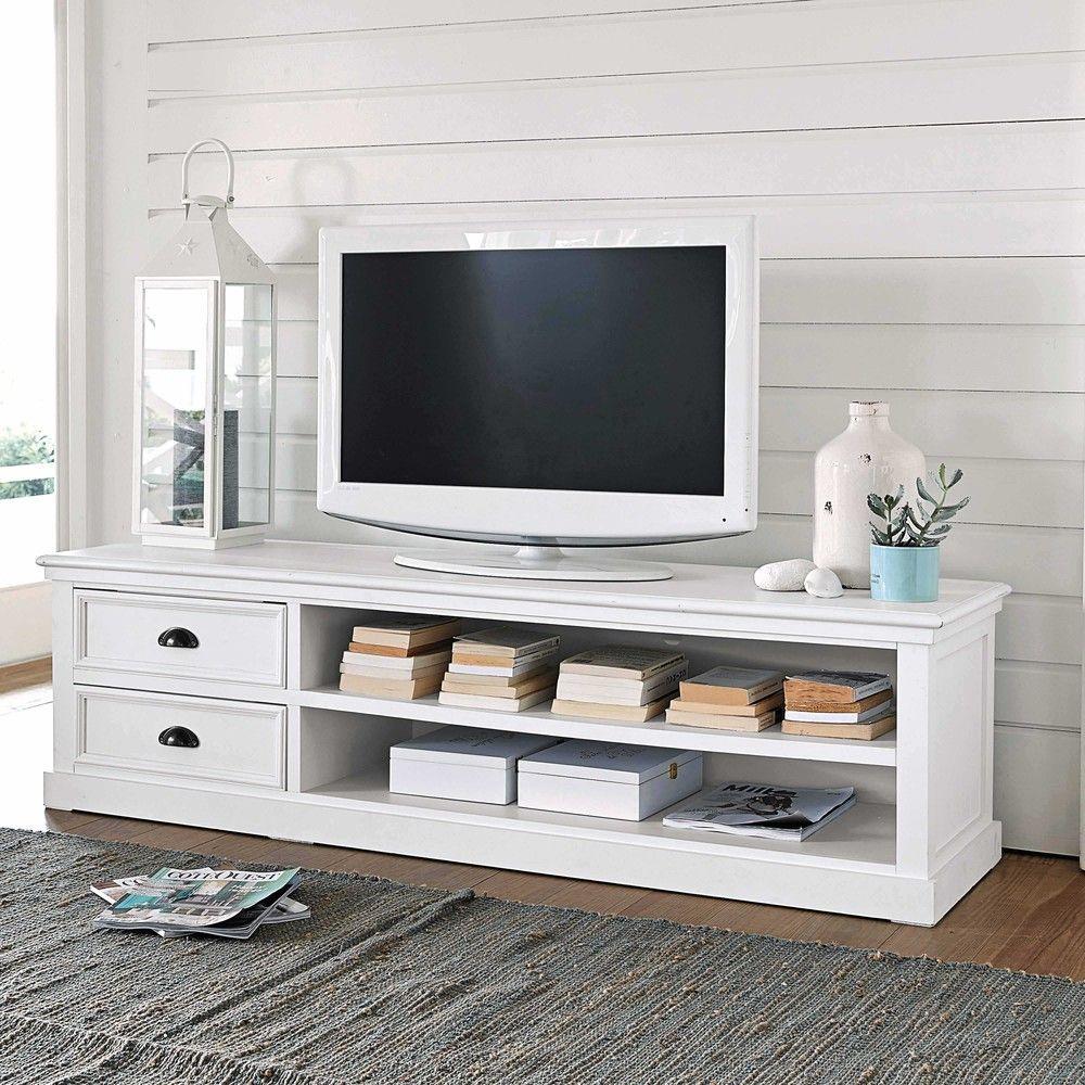 meuble tv en pin blanc l 160 cm - Meuble Tv White Maison Du Monde