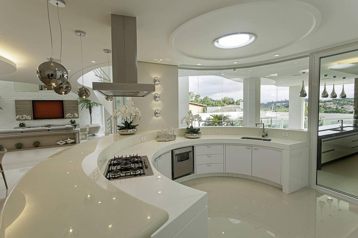Cozinha Americana Com Bancada Layout Circular Linda Kitchens