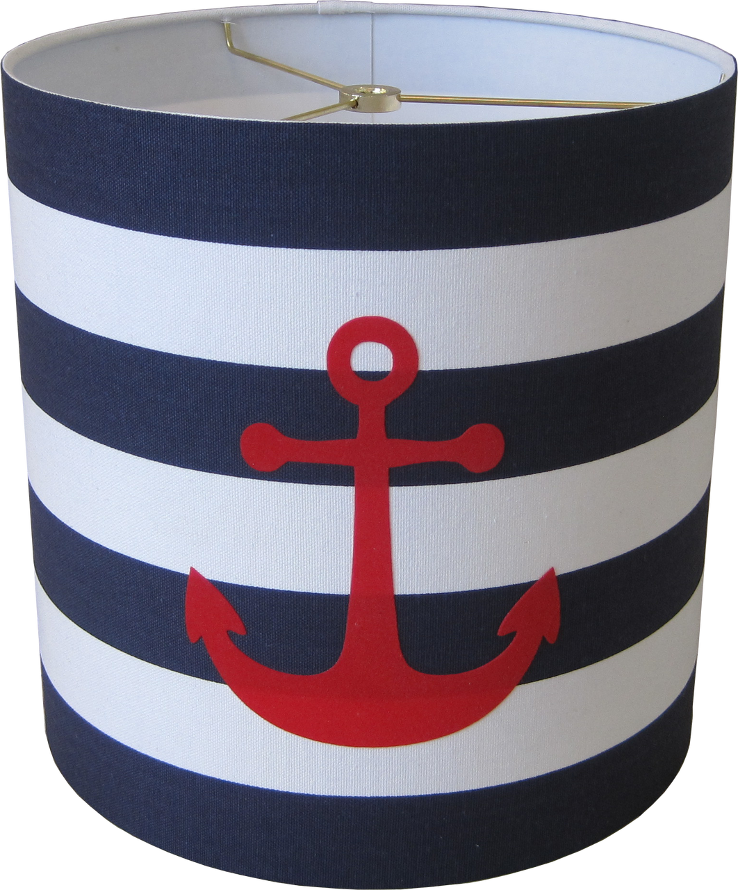 Captivating Nautical Lamp Shade   Two Tier   Anchors Over Stripes
