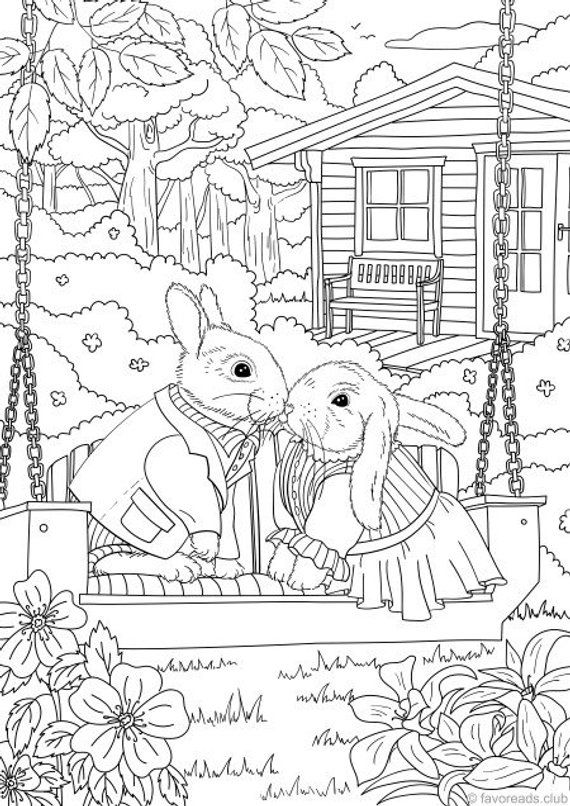 94 Top Coloring Pages For Adults Printable Rabbit  Images