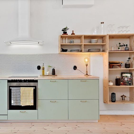 kitchen shelves and cabinets mint green and wood kitchen kitchen f 252 r ayse 5602