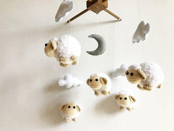 Amigurumi Sheep Baby Mobile : Baby mobile cute sheep moon & cloud sheep baby mobile crochet