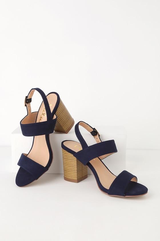 navy suede sandals