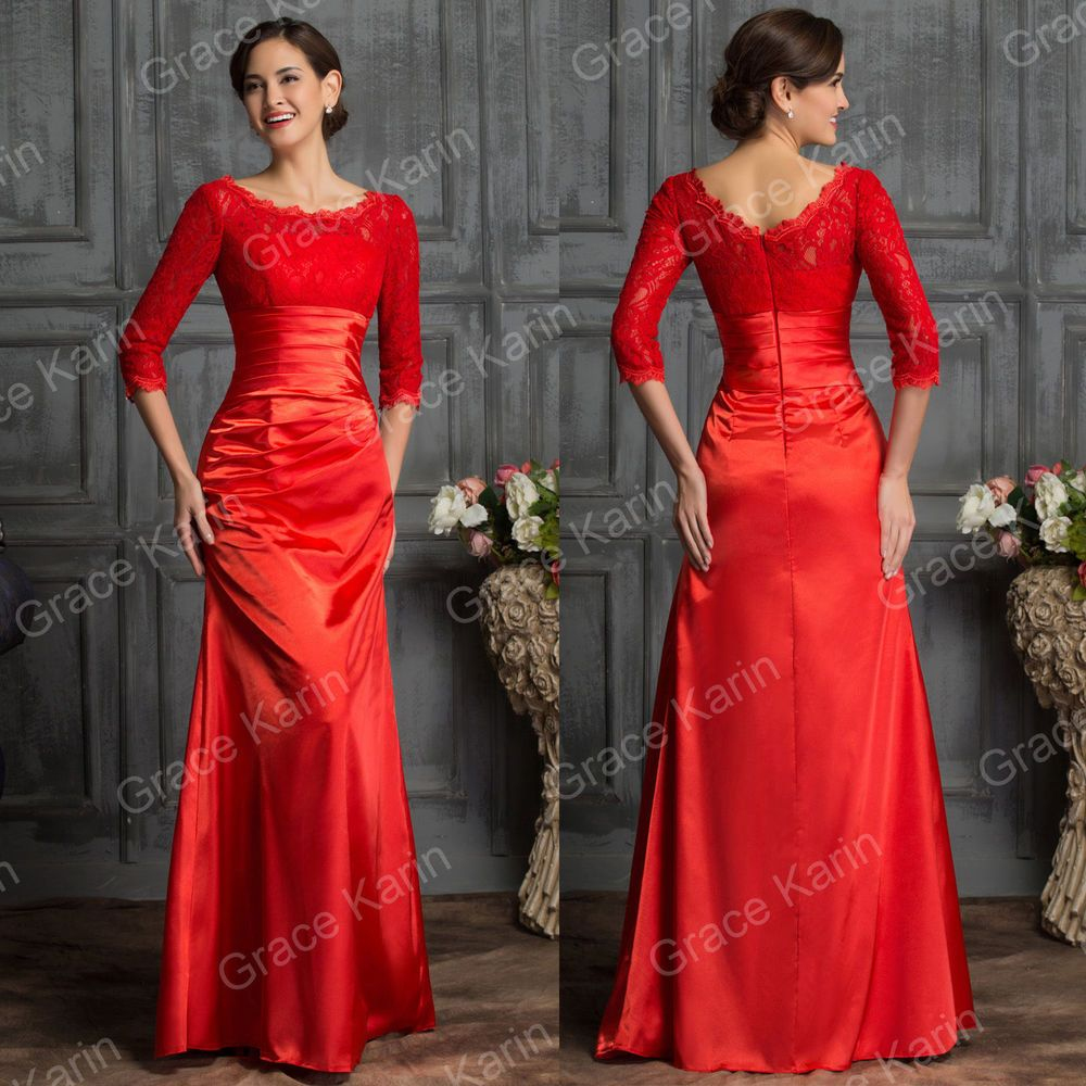 Plus size lace red long evening formal wedding bridesmaid gown prom