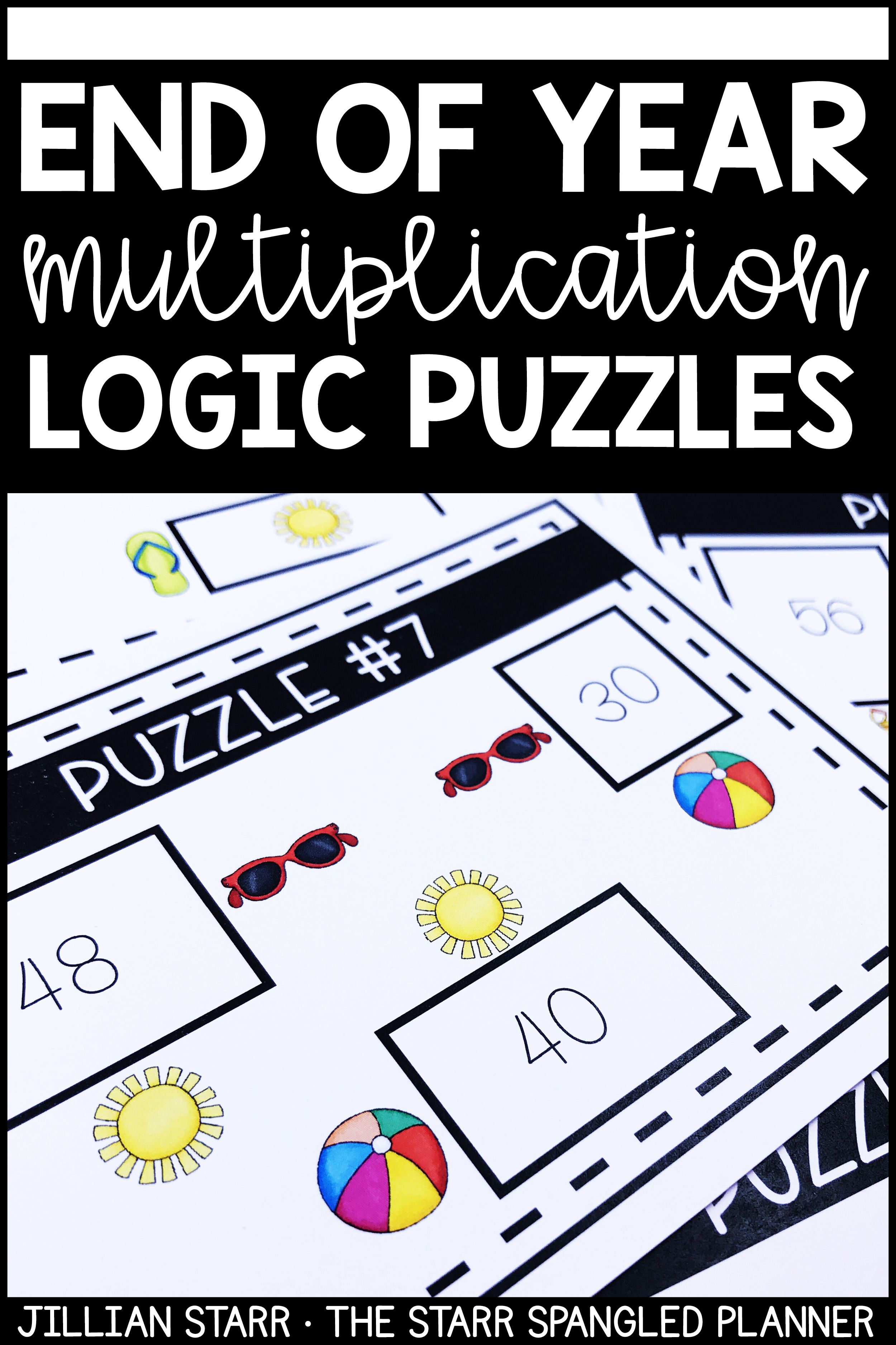 End of the Year Math Logic Puzzles Area, Perimeter and