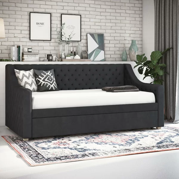 Nolita Upholstered Twin Daybed With Trundle With Images Twin