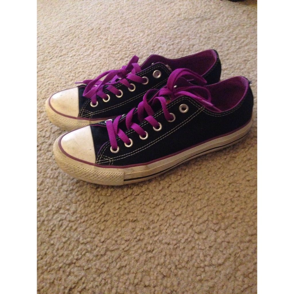 Converse Shoes | Black Converse With Purple Lace | Color