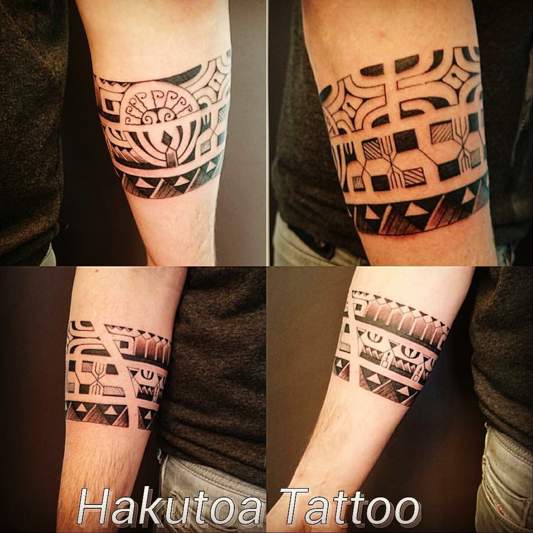 Tatouage polynésien homme bracelet sur avant,bras , Hakutoa