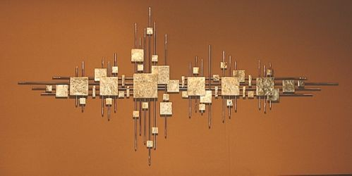 Large Abstract Metal Sculpture Wall Art Gold Brass Squares Silver US Artist | eBay