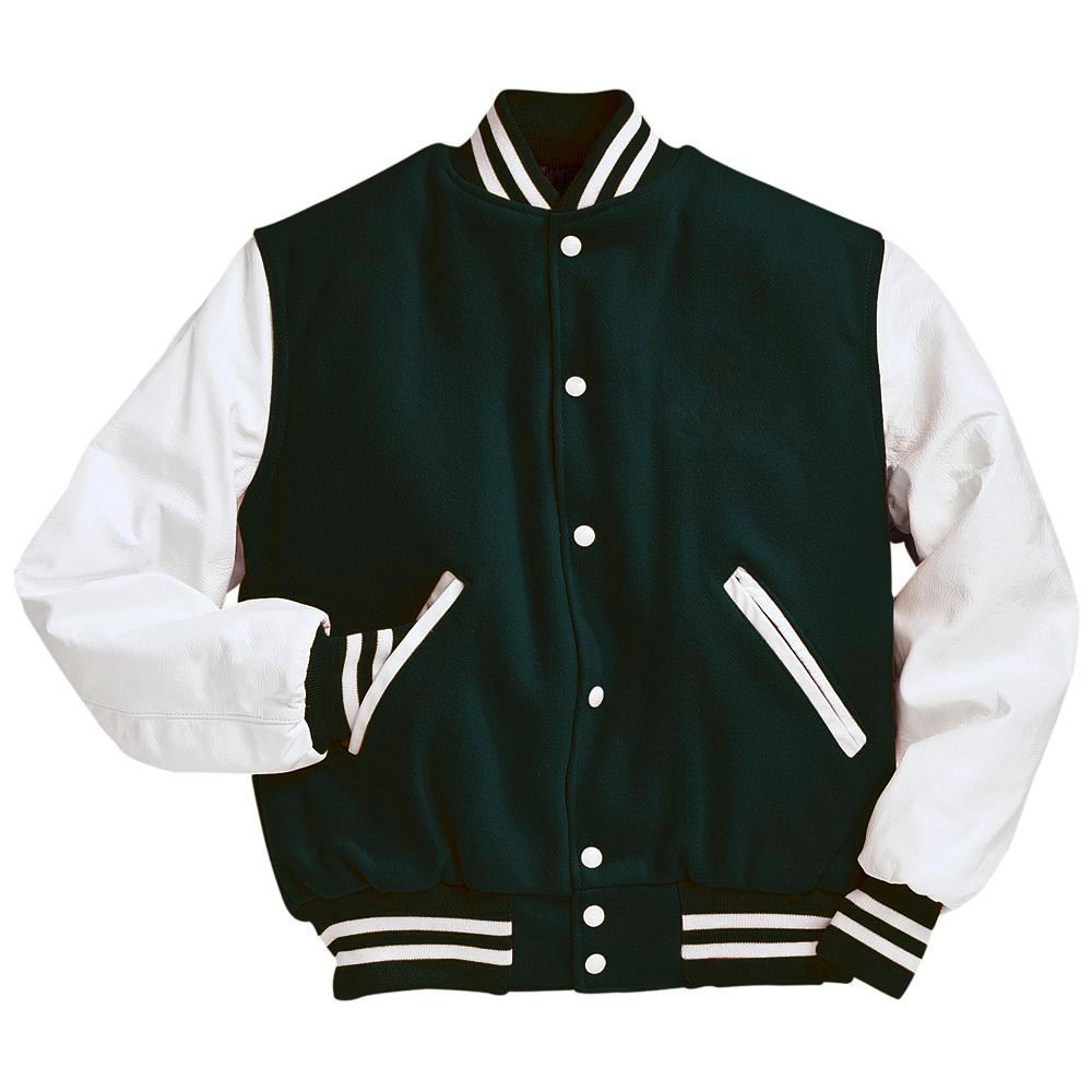 fb2d230f3 Dark Green and White Varsity Letterman Jacket Black and Light Gold Varsity  Letterman Jacket from Mount Olympus Awards. Genuine leather sleeves and  trim with ...