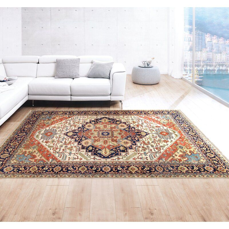 Serapi Oriental Hand Knotted Wool Ivory Navy Red Area Rug Pasargad Area Rugs Rugs