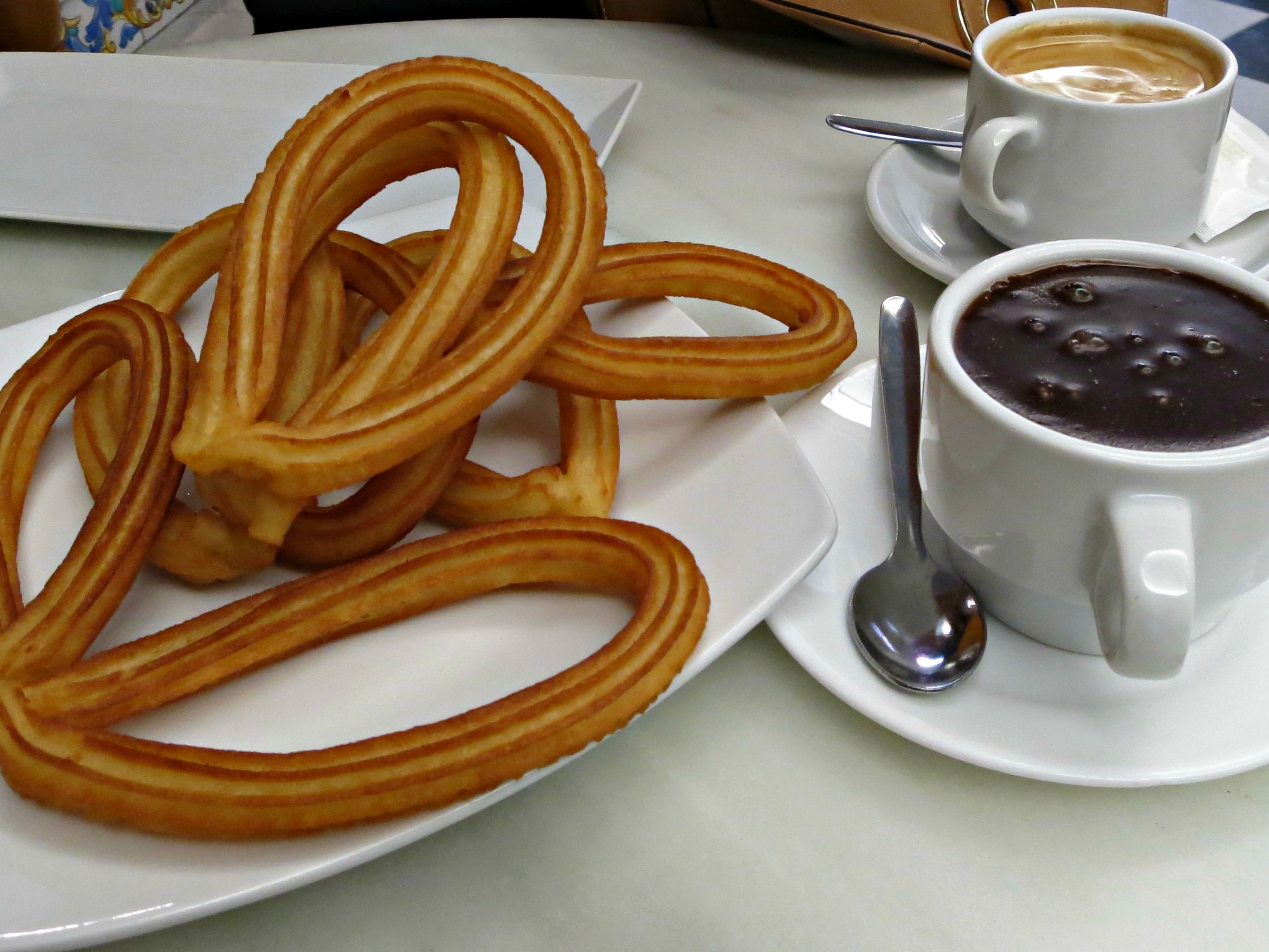 churros with dipping chocolate in Valencia, Spain | Travel Food ...
