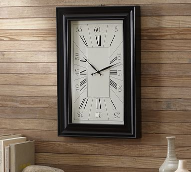 rectangular wall clock hang ups kitchen wall clocks wall clock pottery barn living room clocks. Black Bedroom Furniture Sets. Home Design Ideas
