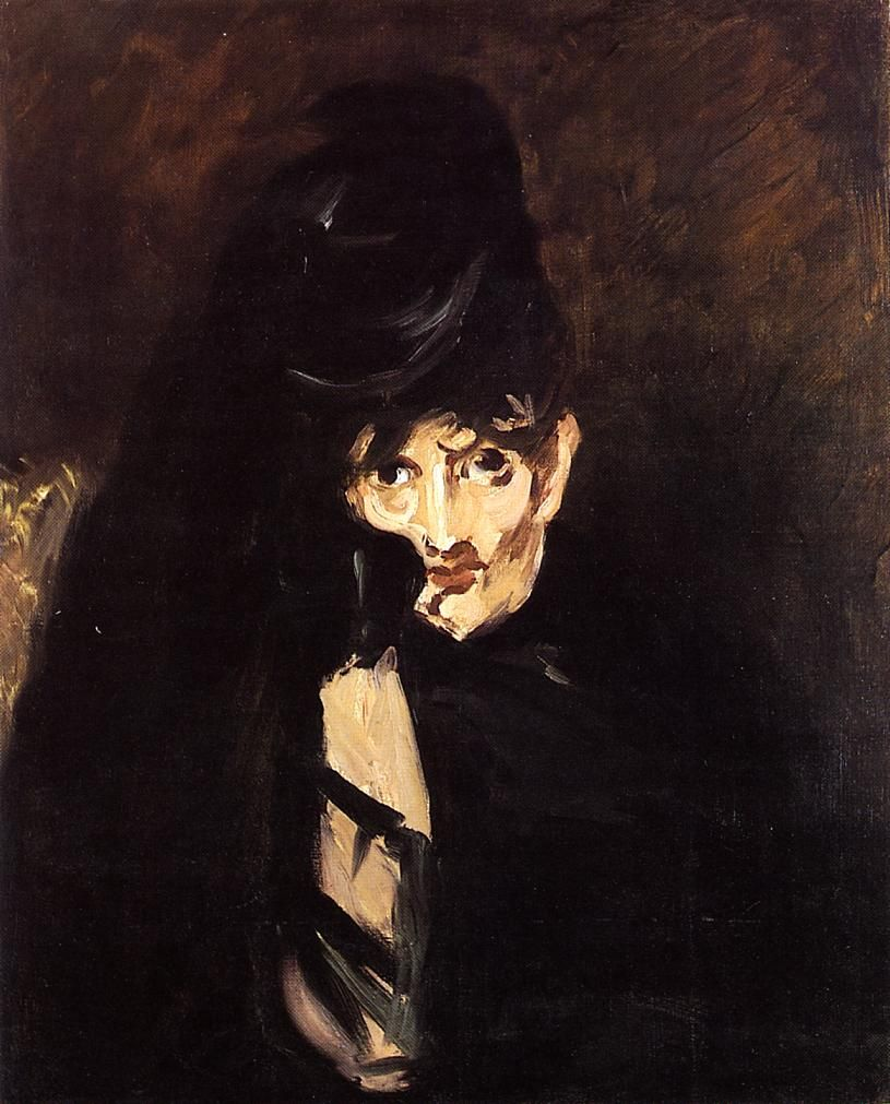 Edouard Manet 1832 1883 Portrait De Berthe Morisot Au Chapeau En Deuil Avec Images Peinture Moderne Peintre Peinture Rose